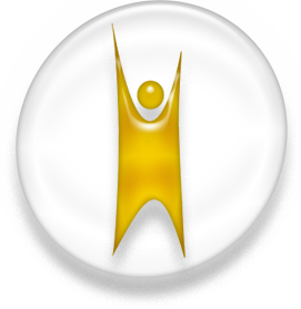 Happy human Humanist logo, white and golden ve...